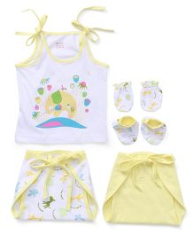 Ohms 5 Piece Infant Clothing Set - White Yellow