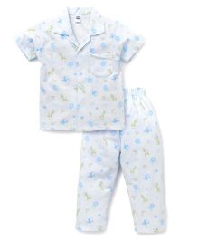 Teddy  Half Sleeves Stripe Night Suit Animal Print - Sky Blue White