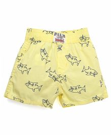 Palm Tree Casual Shorts Whale Print - Yellow