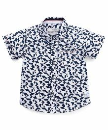 Palm Tree Half Sleeves Printed Shirt - White Navy