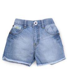 Palm Tree Ice Wash Style Denim Shorts - Light Blue