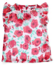 Palm Tree Short Flutter Sleeves Top Floral Print - White Red