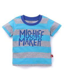 Bodycare Half Sleeves Stripe T-Shirt Mischief Maker Print - Sky Blue Grey