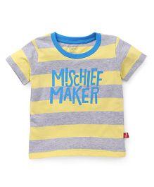 Bodycare Half Sleeves Stripe T-Shirt Mischief Maker Print - Yellow Grey