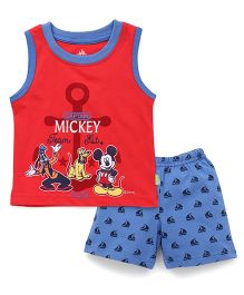 Bodycare Sleeveless Mickey Printed T-Shirt & Shorts Set - Red Blue