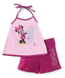 Bodycare Halter Neck Top and Shorts Set Minnie Print - Purple