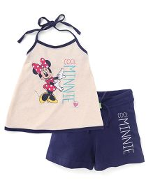 Bodycare Halter Neck Top and Shorts Set Minnie Print - Blue