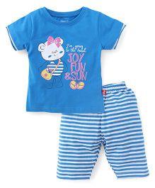Bodycare Half Sleeves Top And Capri Set Teddy Print - Blue