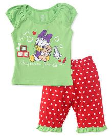 Bodycare Half Sleeves Top And Capri Set Daisy Duck Print - Green Red
