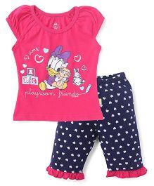 Bodycare Half Sleeves Top And Capri Set Daisy Duck Print - Pink Blue