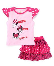 Bodycare Cap Sleeves Top And Skirt Set Minnie Print - Pink