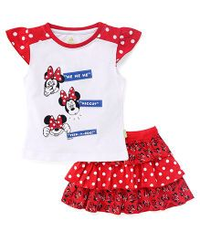Bodycare Cap Sleeves Top And Skirt Set Minnie Print - Red