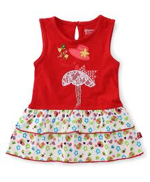 Bodycare Sleeveless Frock Embroidered With Frills - Red