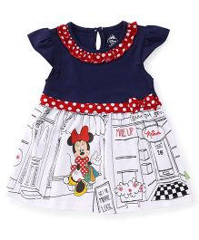 Bodycare Cap Sleeves Frock Minnie Mouse Print - Navy White
