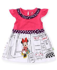 Bodycare Cap Sleeves Frock Minnie Mouse Print - Pink White