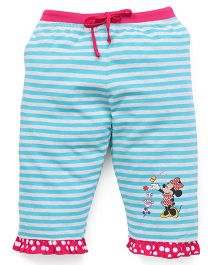 Bodycare Capri Three-Fourth Striped Leggings With Minnie Print - Aqua Blue