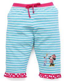 Bodycare Capri Three-Fourth Striped Leggings With Minnie Print - Aqua Blue