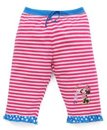 Bodycare Capri Three-Fourth Striped Leggings With Minnie Print - Dark Pink