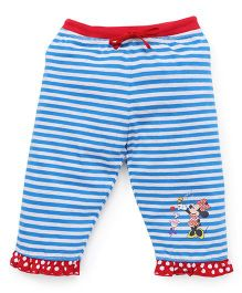 Bodycare Capri Three-Fourth Striped Leggings With Minnie Print - Blue