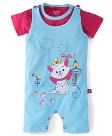 Bodycare Printed Dungaree With Tee - Blue Pink