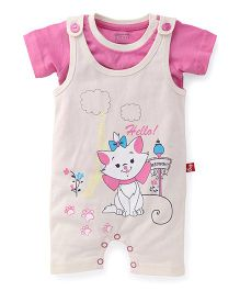 Bodycare Printed Dungaree With Tee - Beige Pink