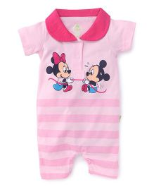 Bodycare Half Sleeves Romper Mickey Minnie Print - Pink