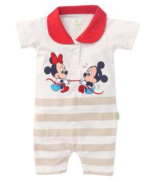Bodycare Half Sleeves Romper Mickey Minnie Print - Off White