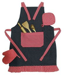 Shumee Dotted Apron With Wooden Utensils