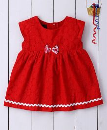 Pspeaches Cotton Hakoba Dress With Delicate Bow - Red