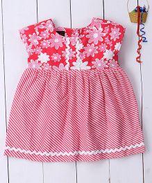 Pspeaches Flower Printed Cotton Dress - Pink
