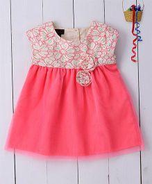 Pspeaches Cotton Lace & Net Dress - Pink