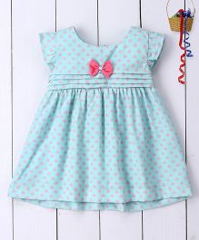 Pspeaches Hearts Crepe Dress With Bows - Green