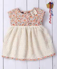 Pspeaches Printed Cotton & Lace Dress With Bows - Multicolour