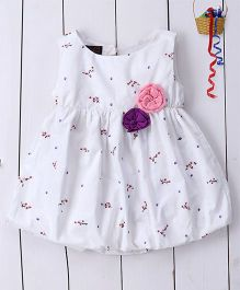 Pspeaches Printed Cotton Balloon Dress With Bows - Purple