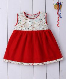 Pspeaches Ribbon Work With Red Tulle Bodice - Red