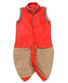 Ethnik's Neu Ron Sleeveless Kurta And Dhoti Set - Orange