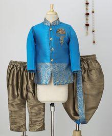 Ethnik's Neu Ron Kurta Dhoti Set With Pajama - Blue Grey