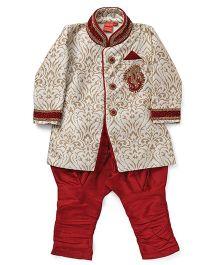 Ethnik's Neu Ron Full Sleeves Kurta And Churidar - Red Fawn