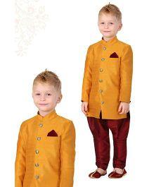 Ethnik's Neu Ron Kurta & Jodhpuri Breeches Set - Gold & Maroon