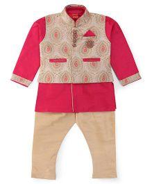 Ethniks Neu Ron Kurta Pajama With Waistcoat - Cream And Pink