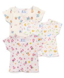 Pink Rabbit Half Sleeves Printed Vest Pack Of 3 - Cream & Multicolor