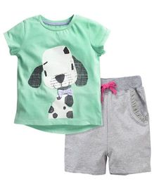 Dazzling Dolls Dog Printed Tee & Short Summer Set - Green & Grey