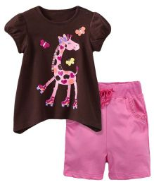 Dazzling Dolls Giraffe Printed Tee & Short Summer Set - Brown & Pink