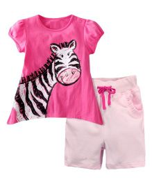 Dazzling Dolls Zebra Printed Tee & Short Summer Set - Pink