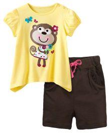Dazzling Dolls Cute Monkey Printed Tee & Short Summer Set - Yellow & Brown