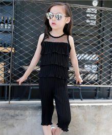 Dazzling Dolls Crinkled And Ruffled Layered Top & Capri Set - Black