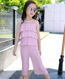 Dazzling Dolls Crinkled And Ruffled Layered Top & Capri Set - Pink