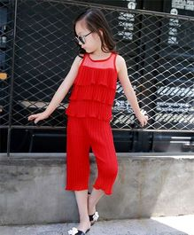 Dazzling Dolls Crinkled And Ruffled Layered Top & Capri Set - Red