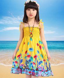 Dazzling Dolls Floral Printed Boho Spaghetti Dress - Yellow
