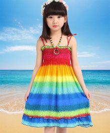 Dazzling Dolls Rainbow Style Spaghetti Dress - Multicolour